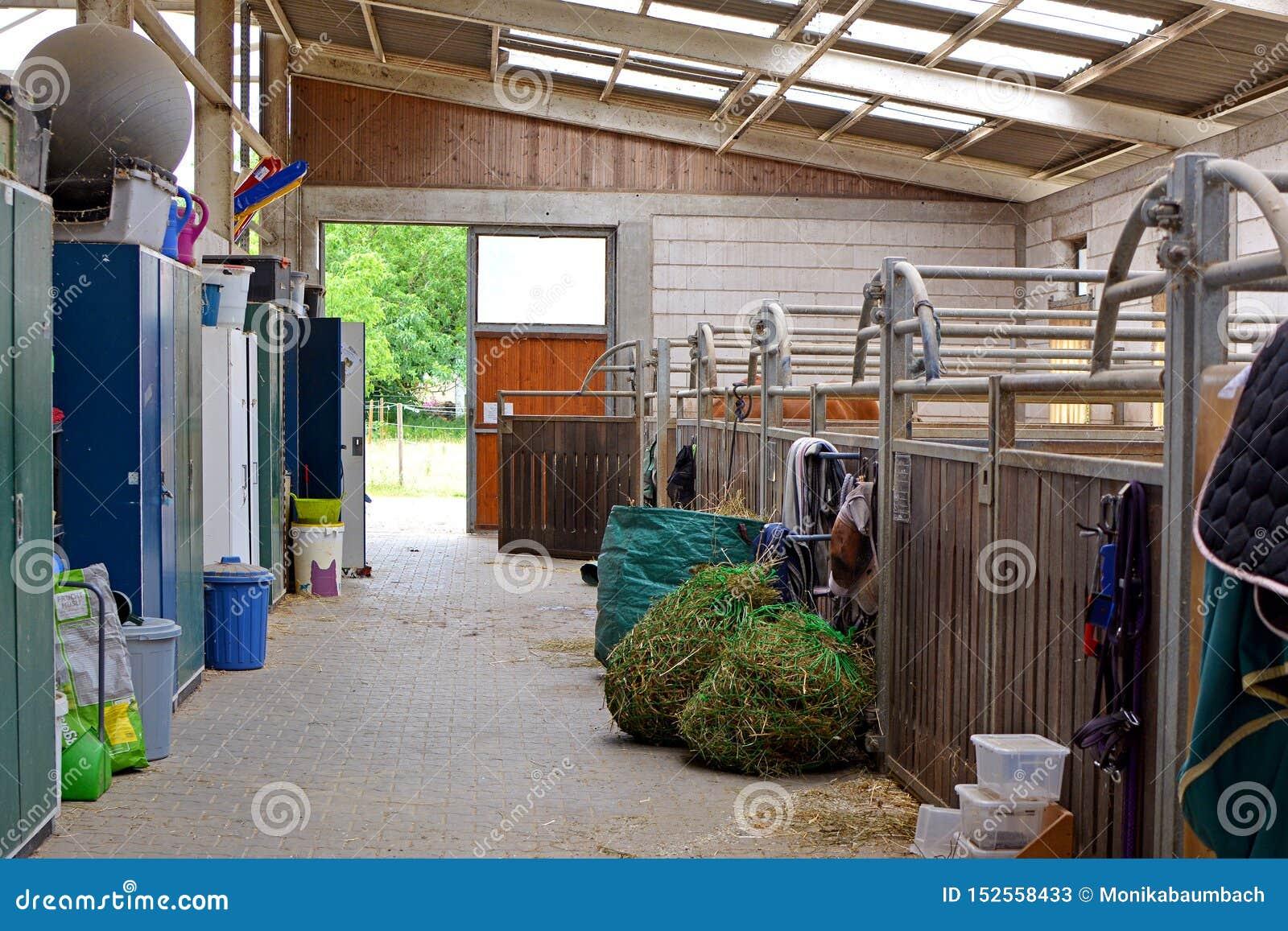 À l intérieur de l écurie d équitation avec les stalles vides de cheval