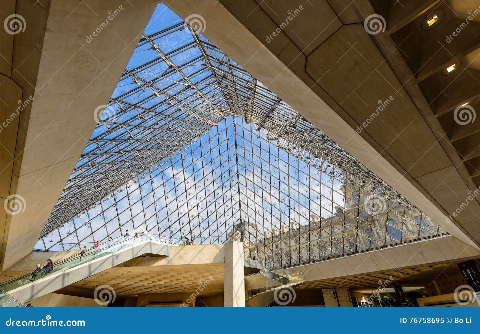 l intrieur de la pyramide en verre du muse de louvre