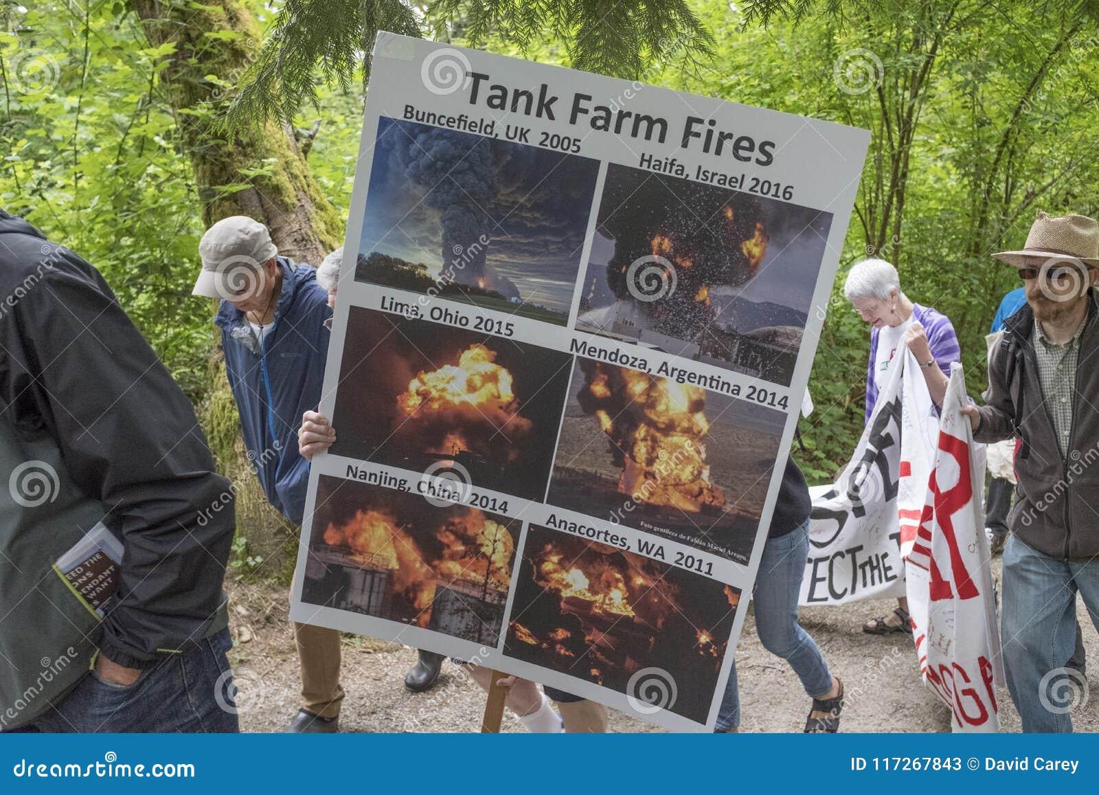 À la protestation de Kinder Morgan, les protestataires supportent une affiche montrant les feux précédents de ferme de réservoir