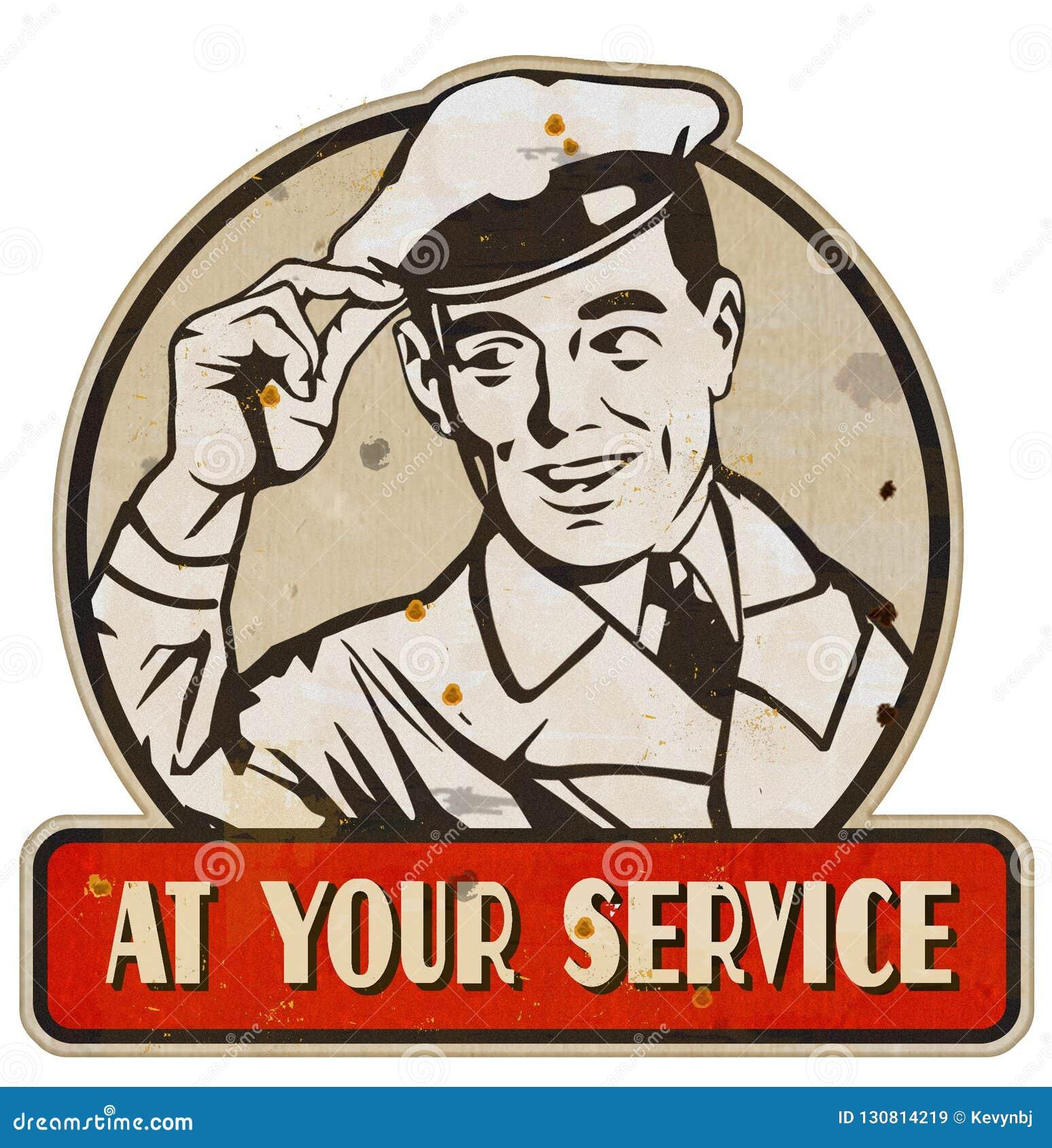 À votre étain en métal de cru de signe d homme de service rétro