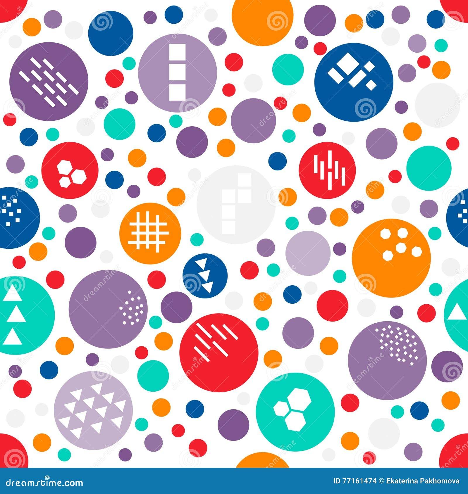 Às bolinhas aleatório colorido do teste padrão sem emenda do tamanho diferente com textura de formas geométricas diferentes: triâ