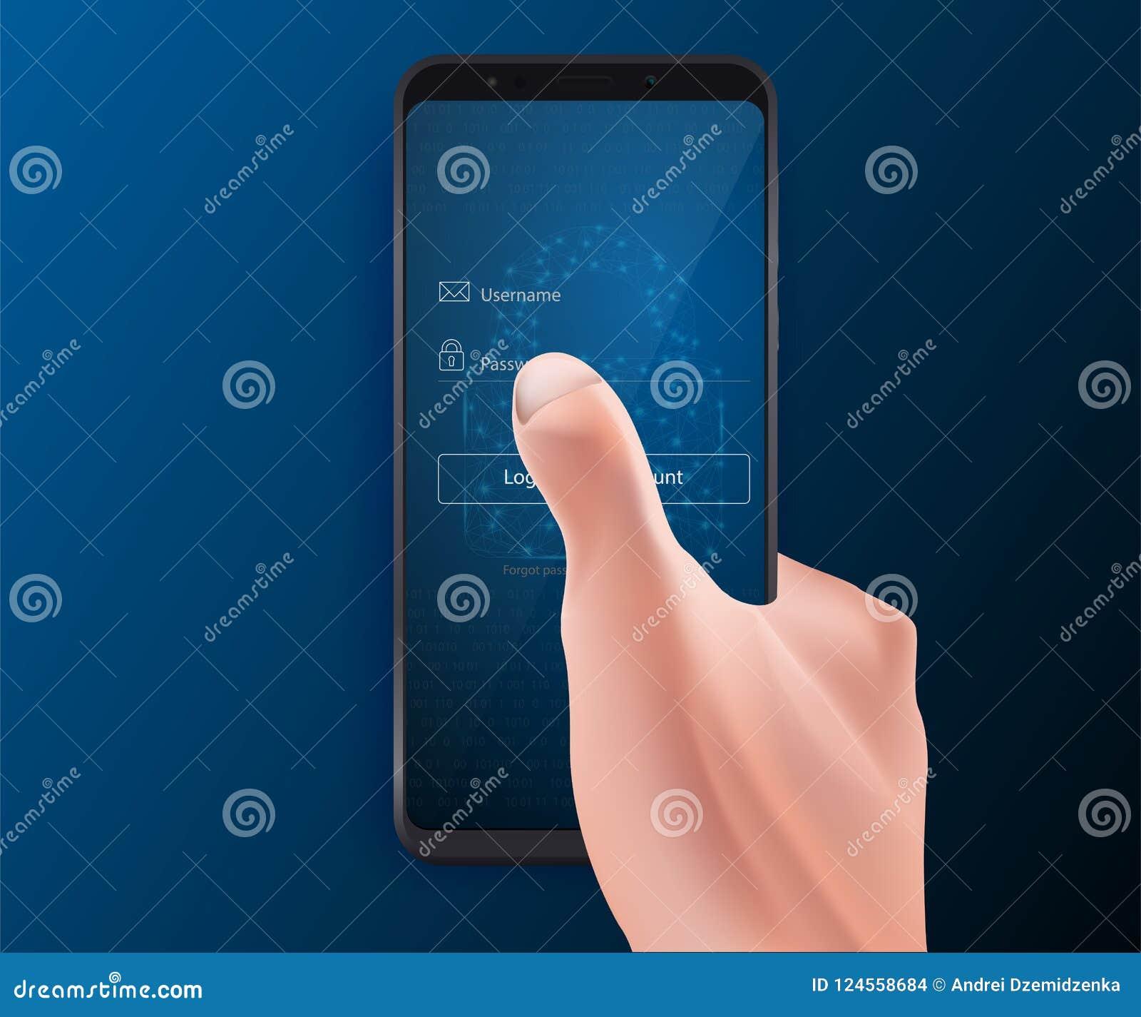 Ábrase una sesión al app móvil, al cybersecurity, al acceso privado con el username y a la contraseña a los datos personales Vect