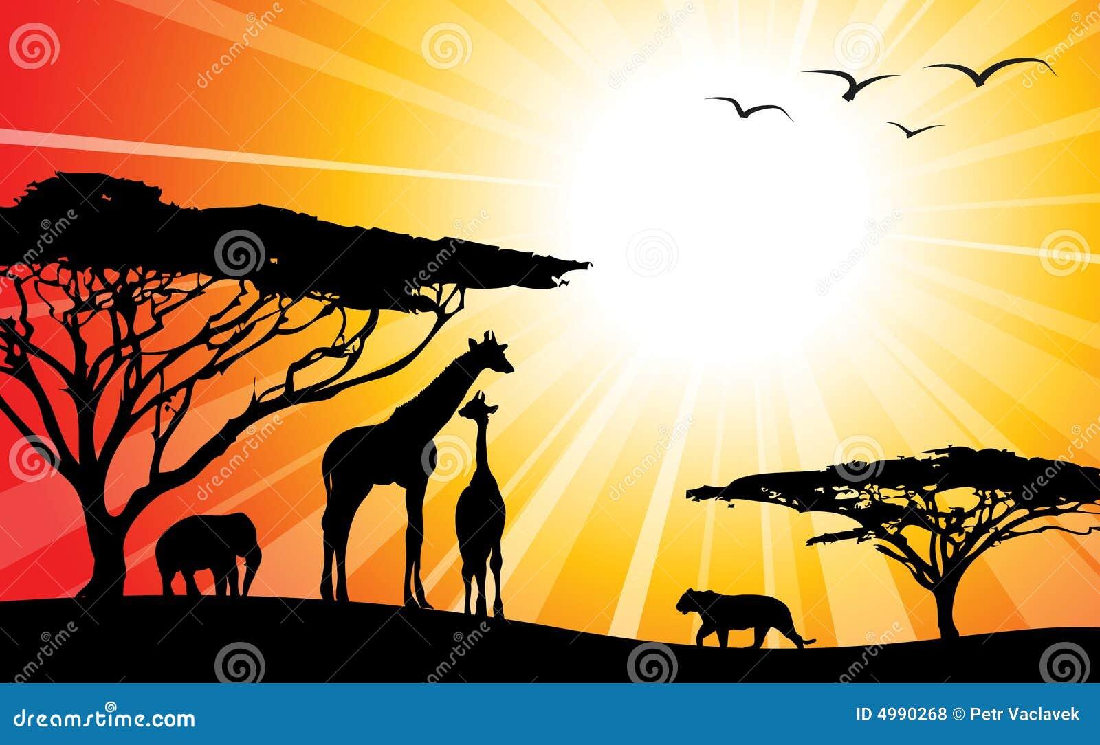 África/safari - siluetas