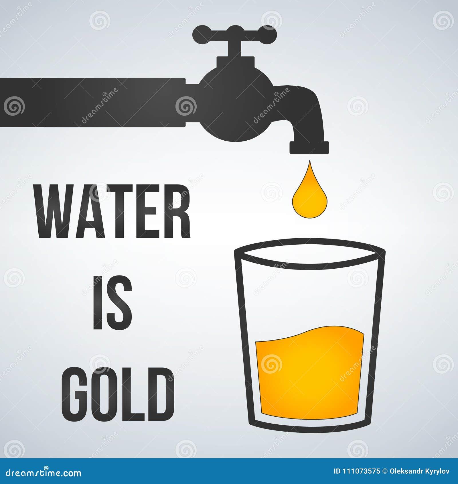 A água é ouro motivation Torneira de água e ícone do vidro Isolater da ilustração do vetor no fundo claro