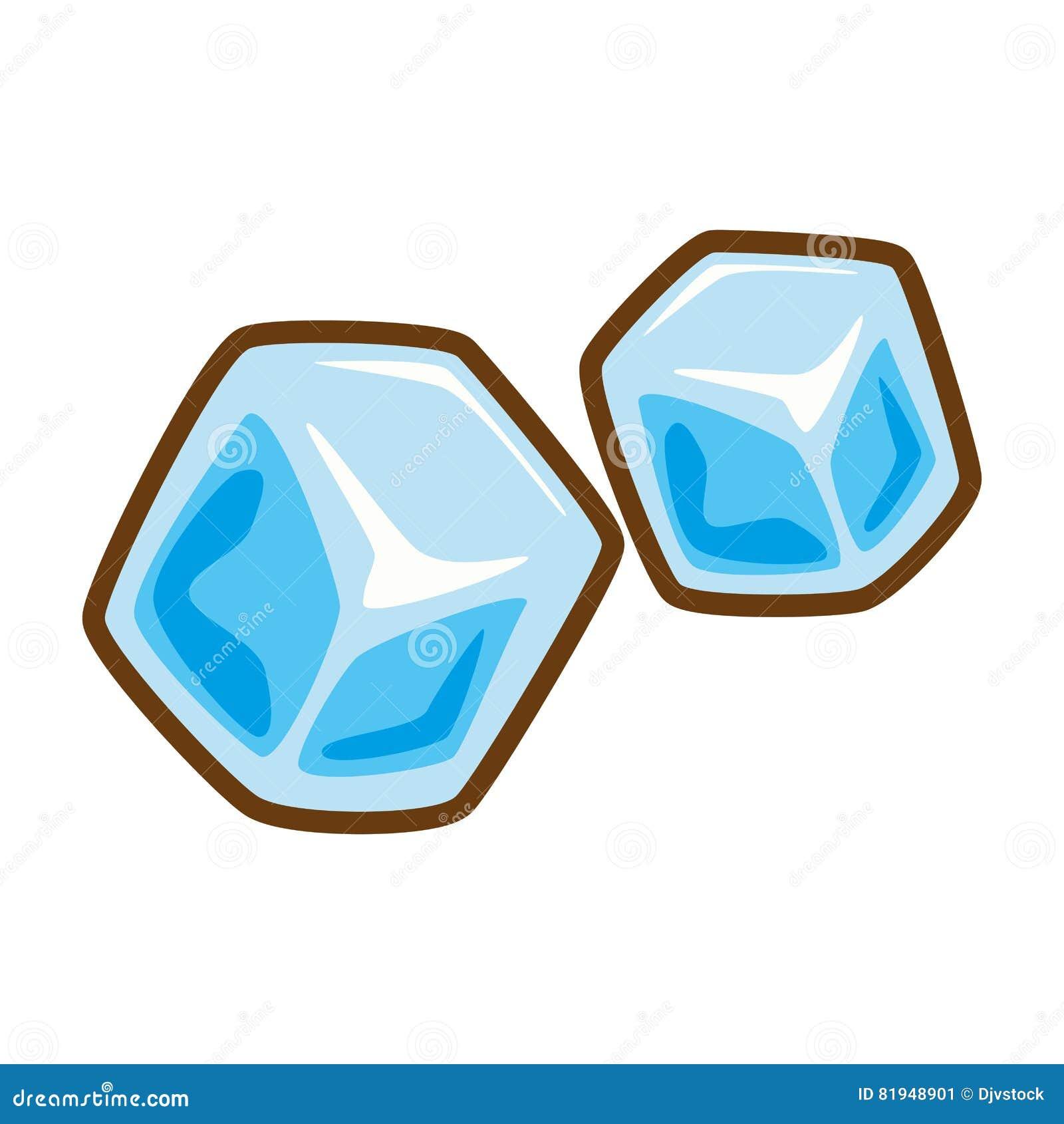 Agua Congelada Dos Cubos De Gelo Dos Desenhos Animados Ilustracao