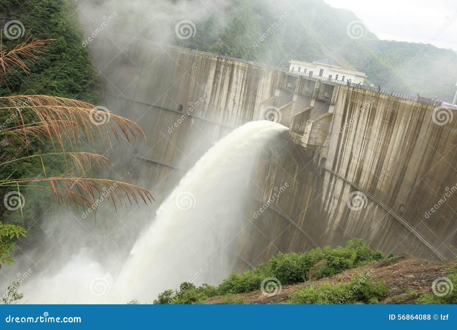 Água da inundação da descarga da represa