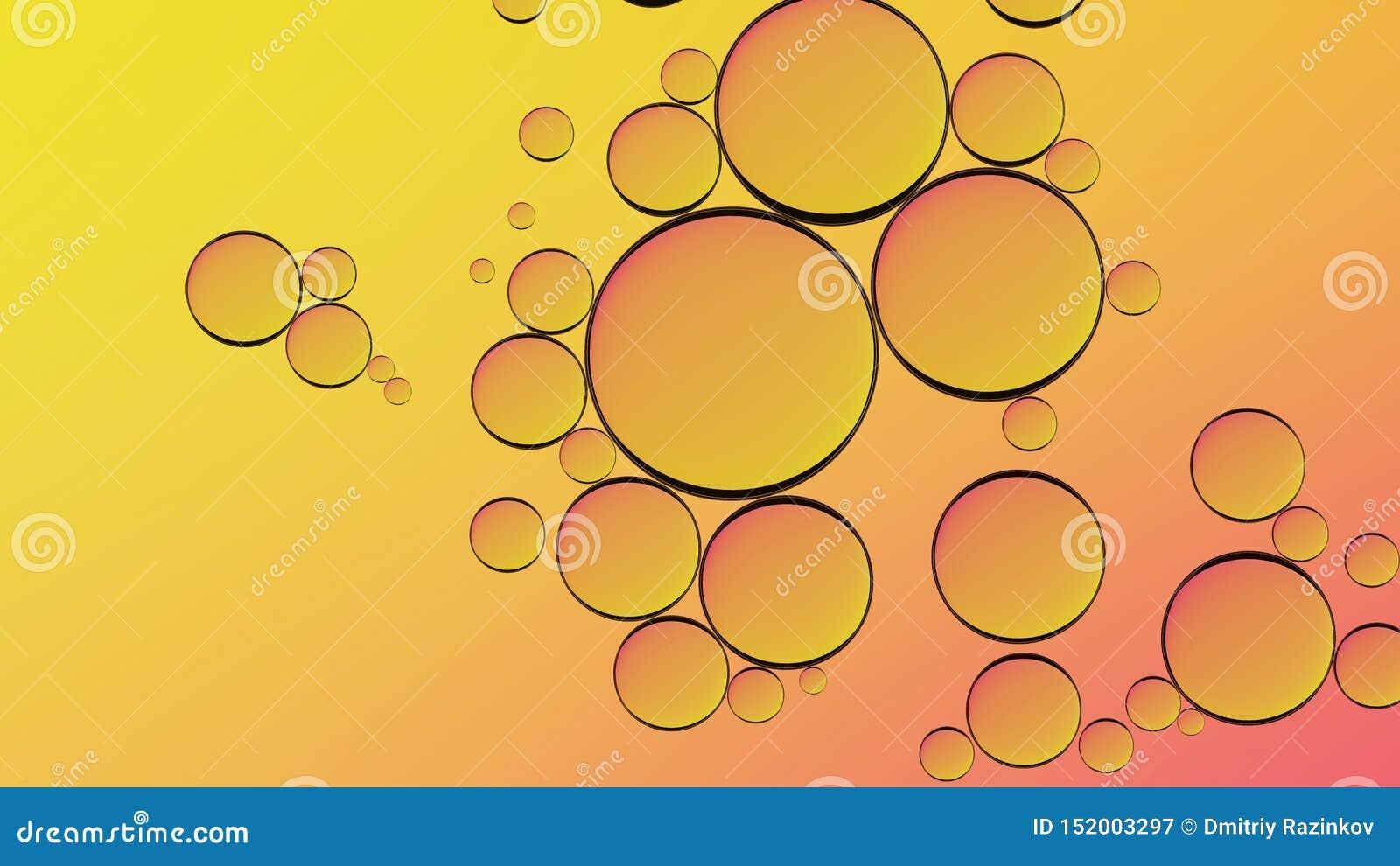 Água no óleo no estilo abstrato no fundo amarelo Respingo l?quido alaranjado Fundo abstrato do óleo amarelo dourado da bolha