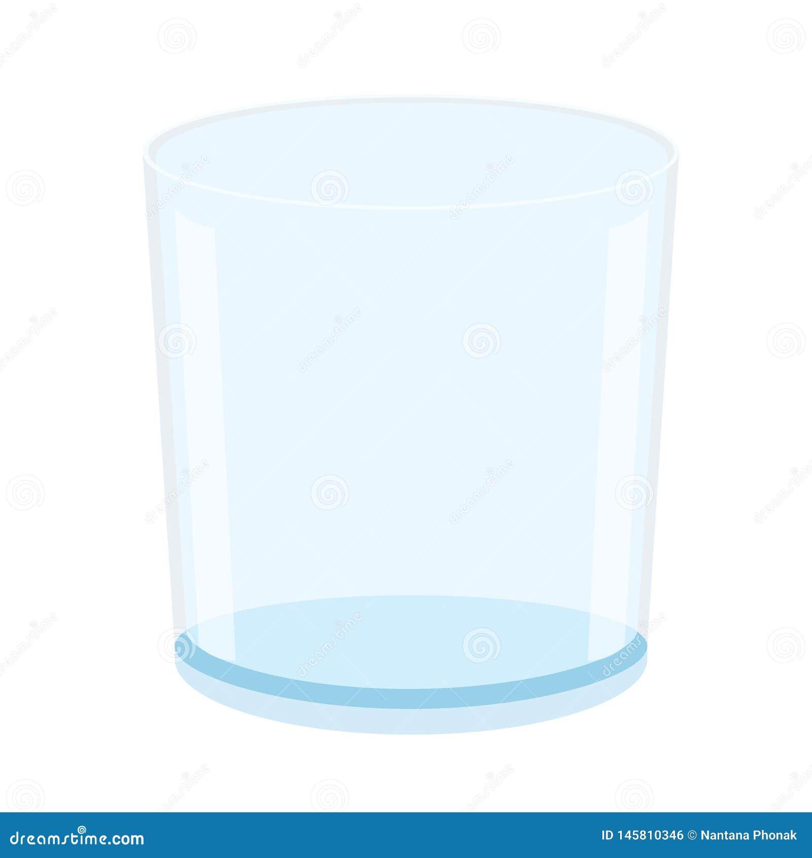 Água potável de vidro vazia no vetor branco da ilustração do fundo