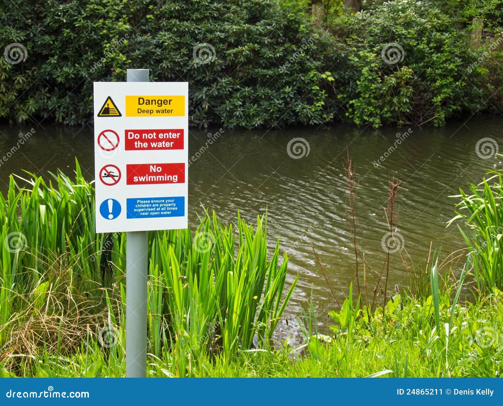 Água profunda do perigo nenhuma natação