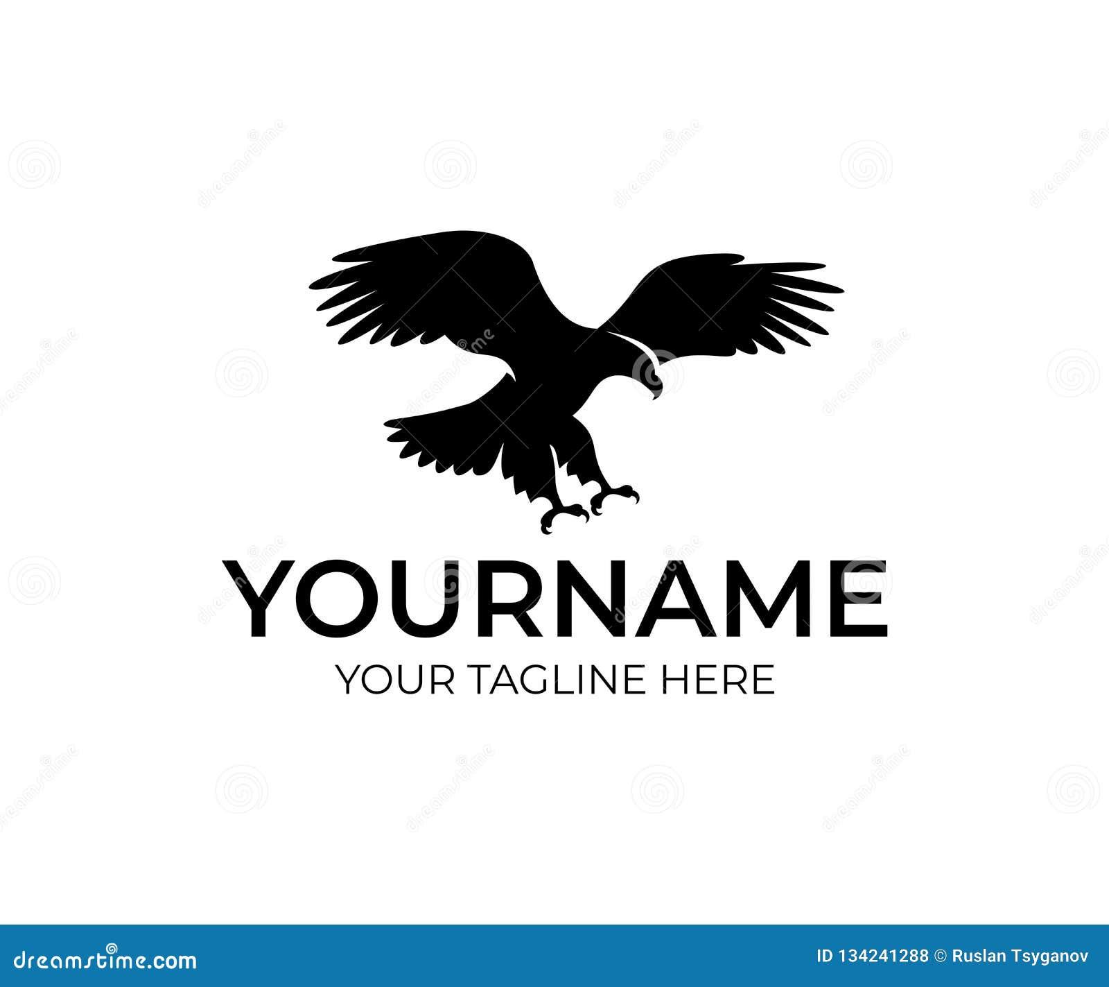 Águila del vuelo, pájaro y animal, diseño del logotipo Fauna, naturaleza y salvaje, diseño del vector