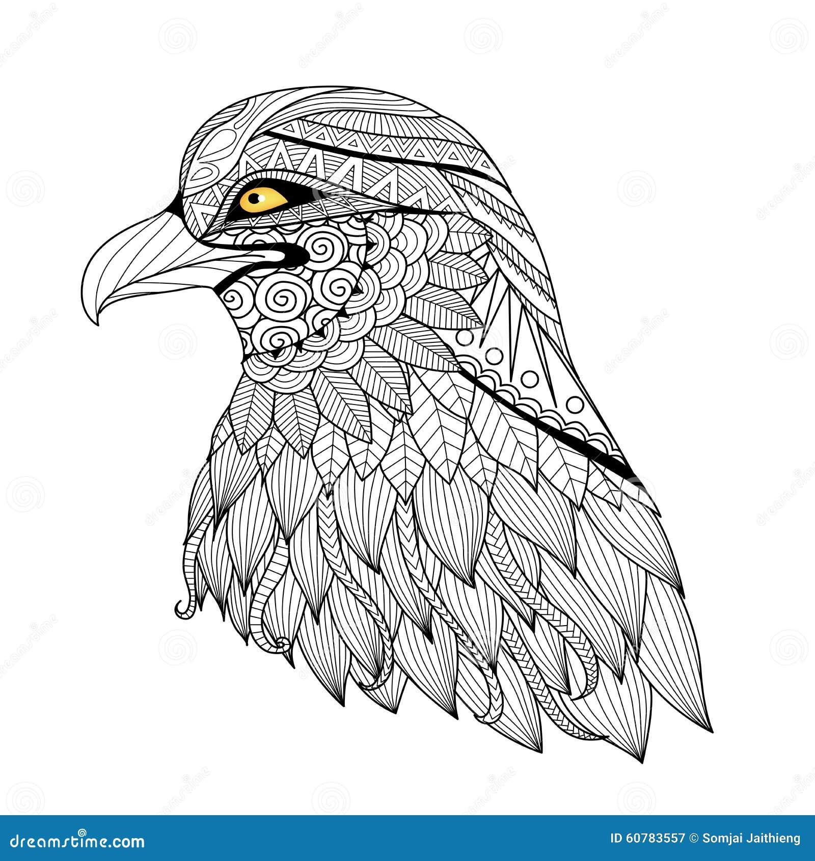 Águila Del Zentangle Del Detalle Ilustración del Vector ...