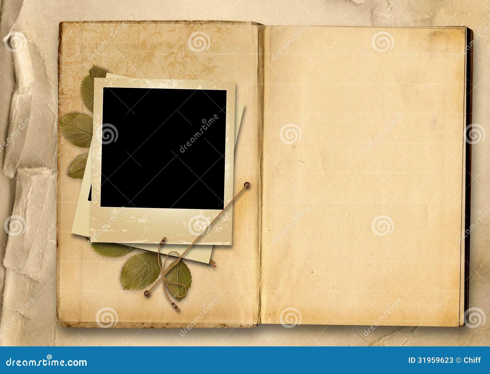Álbum De Foto Del Vintage Con El Viejo Foto-marco Stock de ...