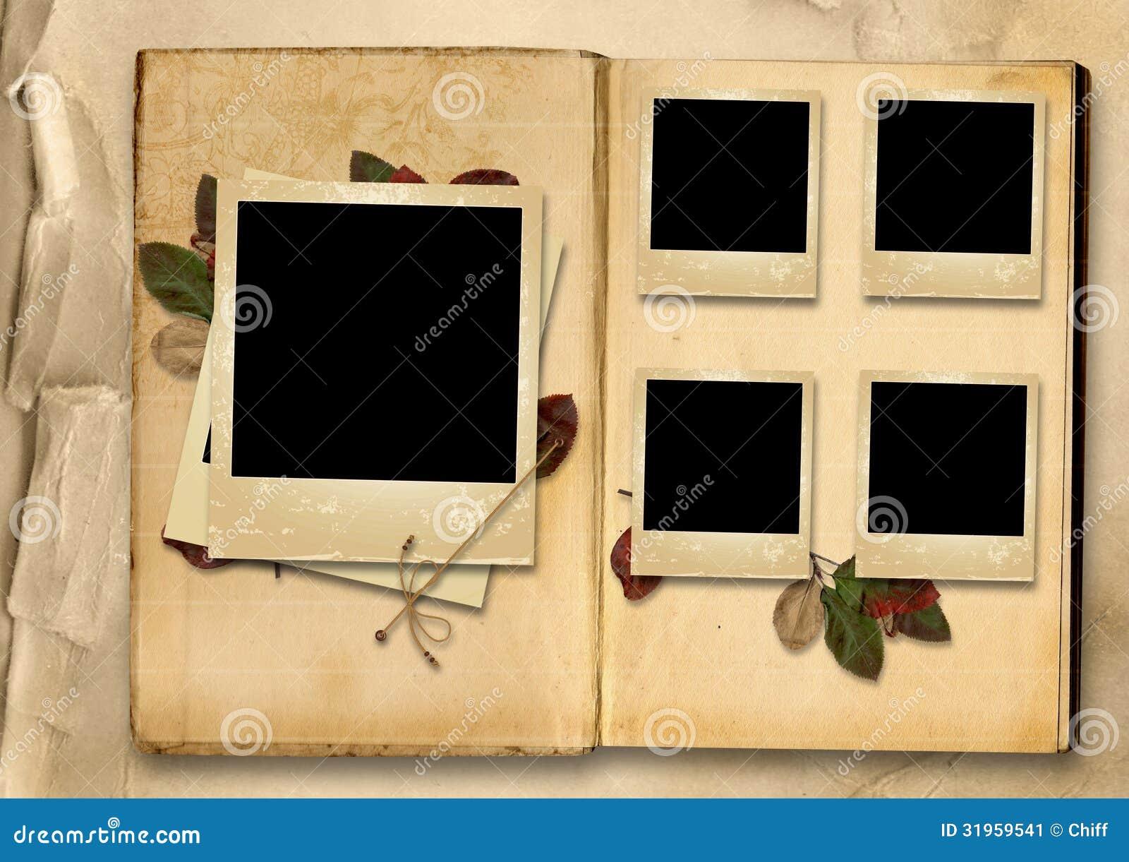 Álbum De Foto Del Vintage Con La Pila De Viejos Foto-marcos Stock de ...