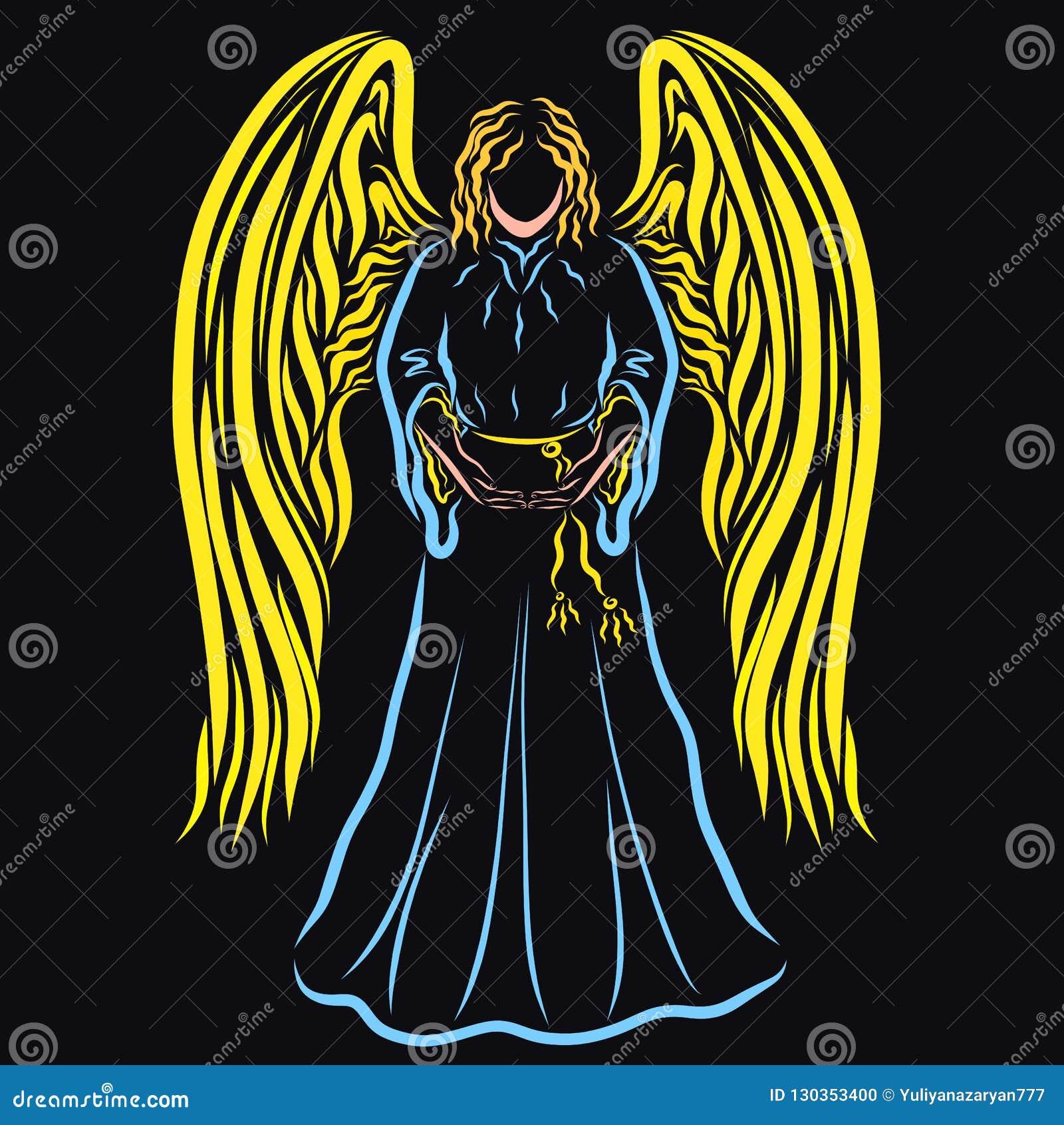 Ángel colorido en un fondo negro que lleva a cabo algo en manos