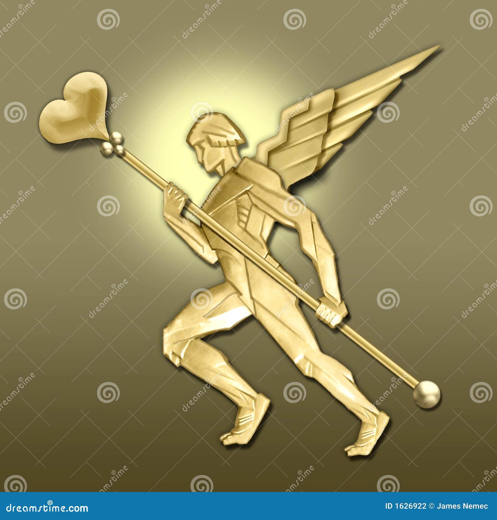 Ángel de oro w/heart del art déco