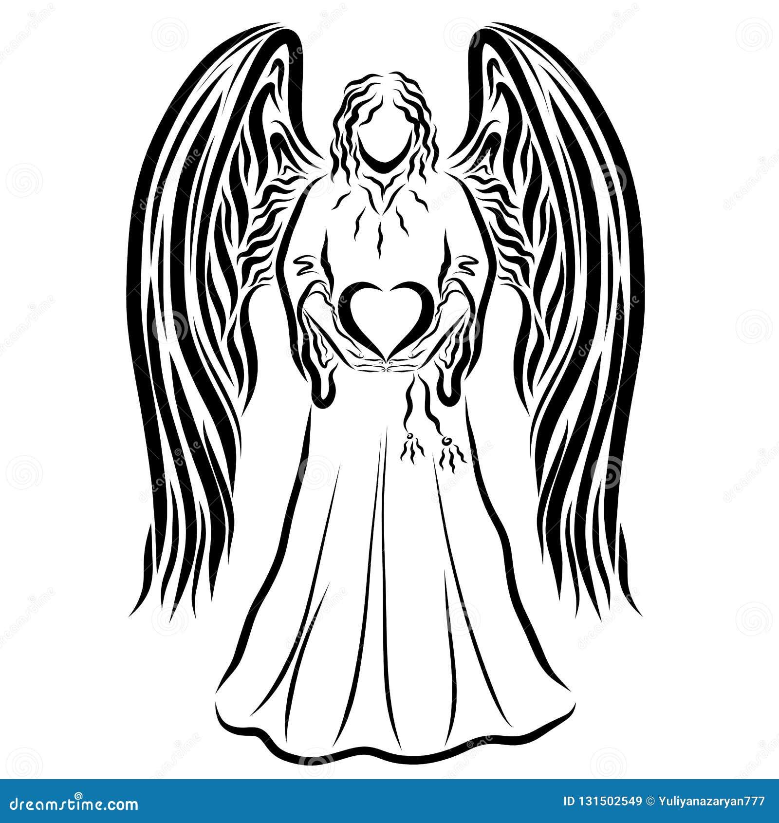 Ángel que lleva a cabo un corazón en sus manos, modelo negro