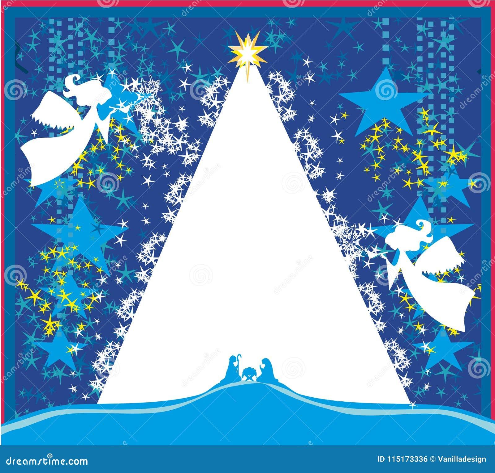 Ángeles de la Navidad Tarjeta religiosa de la escena de la natividad de la Navidad