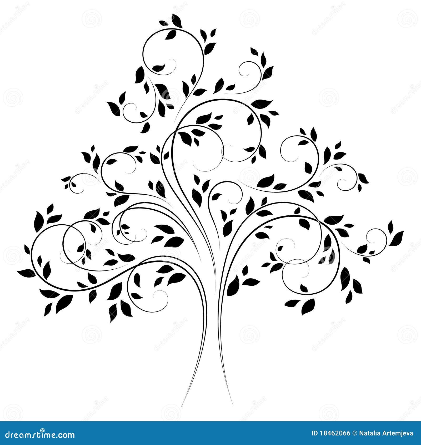 árbol 4 Negro Del Vector Ilustración Del Vector Ilustración De