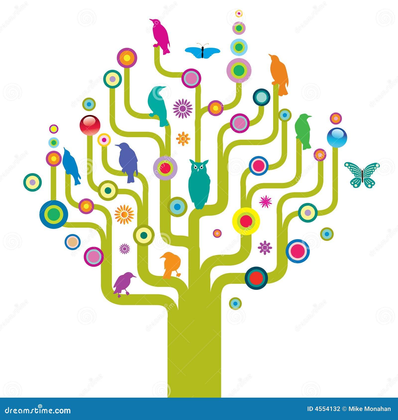 Árbol abstracto con fauna