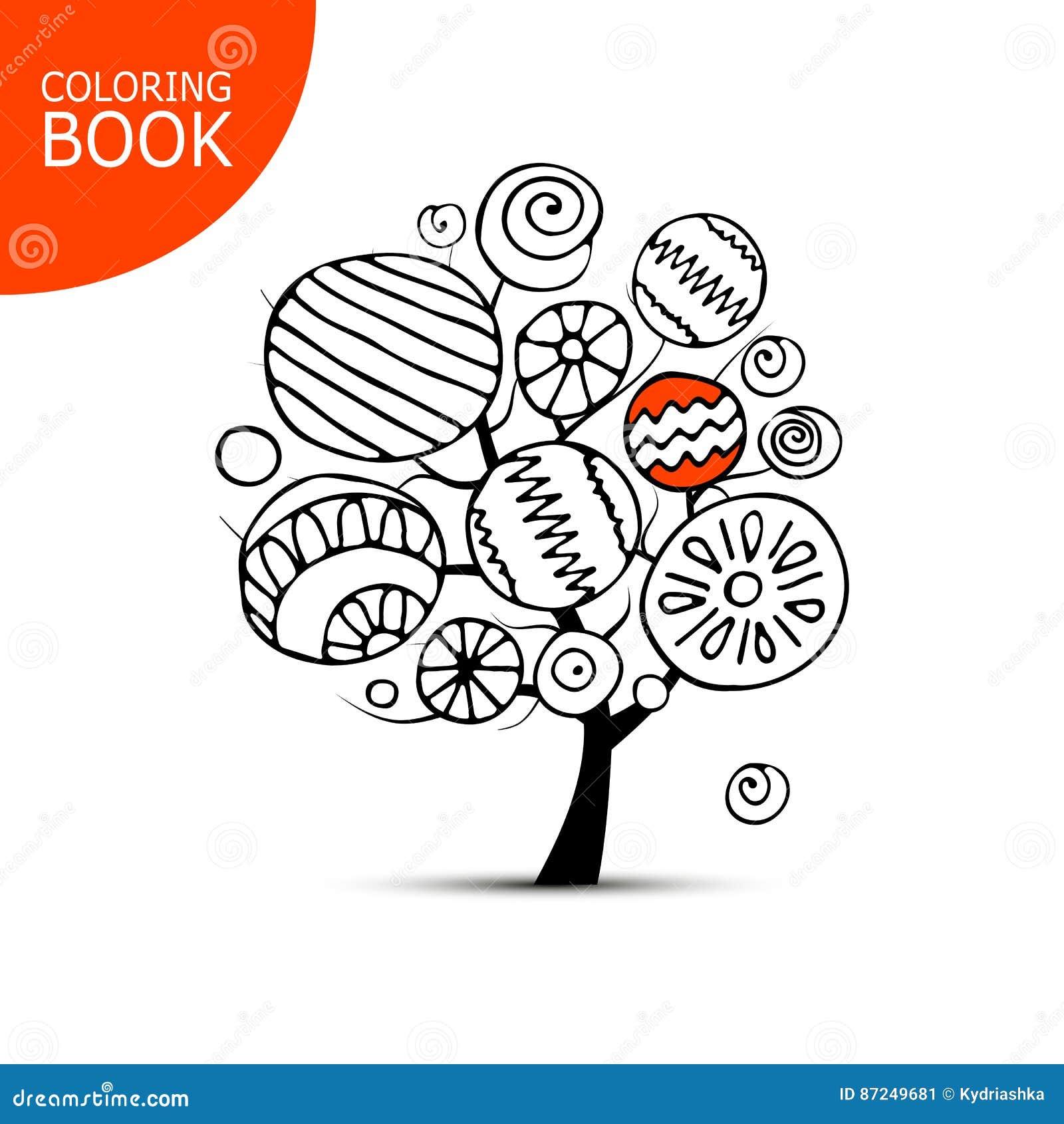 Árbol Abstracto Con Los Círculos Bosquejo Para Su Libro De Colorear ...