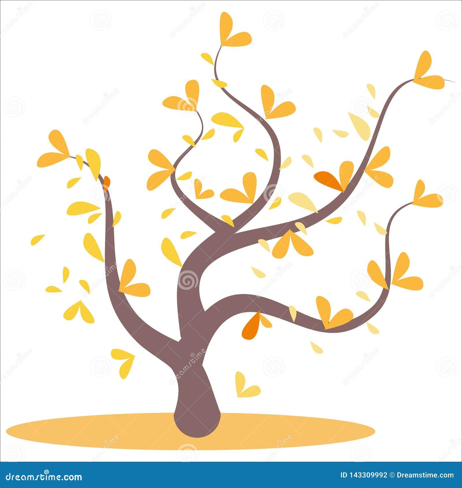 Árbol abstracto estilizado del otoño Hojas en las ramas, árbol anaranjado Hojas amarillas y anaranjadas en el árbol, hojas en las