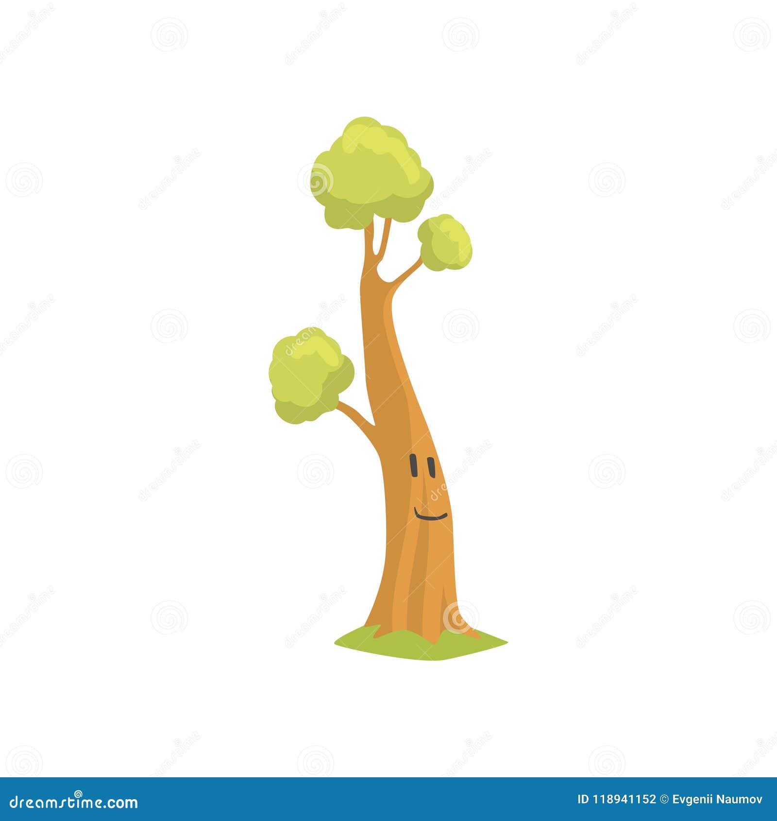 árbol Alto Con La Cara Sonriente En Tronco Planta Humanizada