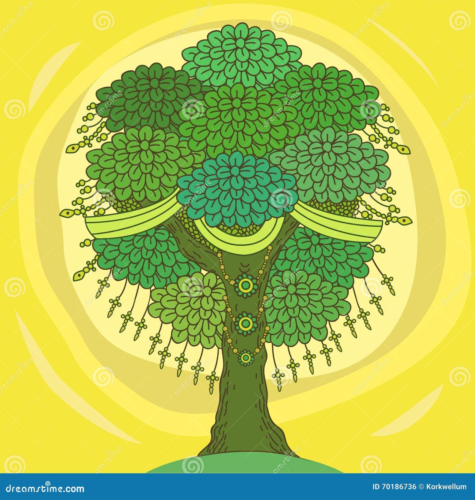 Árbol asombroso del color de la vida en el estilo indio con las hojas Ejemplos del vector de la historieta