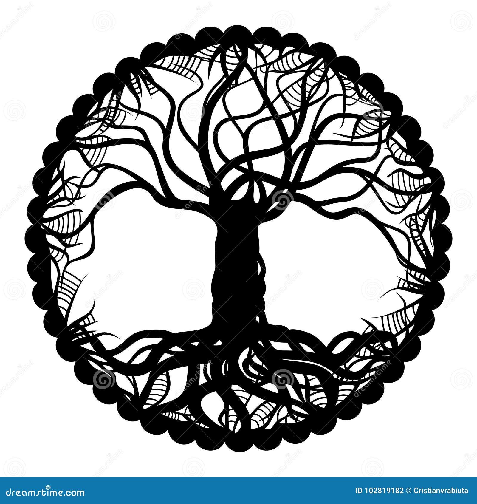 árbol Blanco Y Negro Del Medallón De La Vida Ilustración Del Vector
