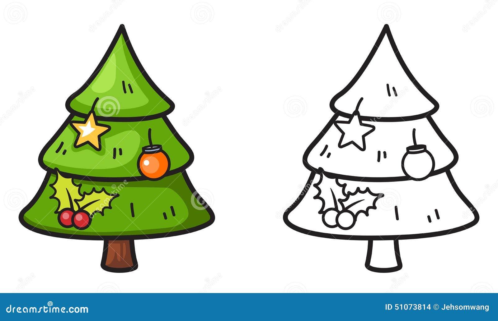 Árbol Colorido Y Blanco Y Negro De Navidad Para El Libro De Colorear ...