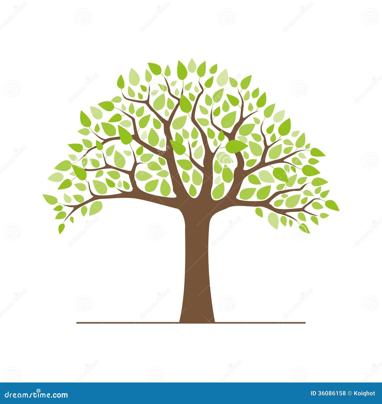 Rbol con las hojas verdes ilustraci n del vector imagen for Arbol de fotos manual
