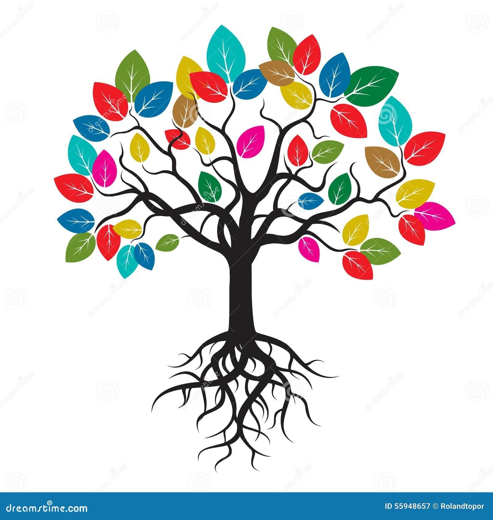 árbol Con Las Hojas Y Las Raíces Del Color Stock De Ilustración