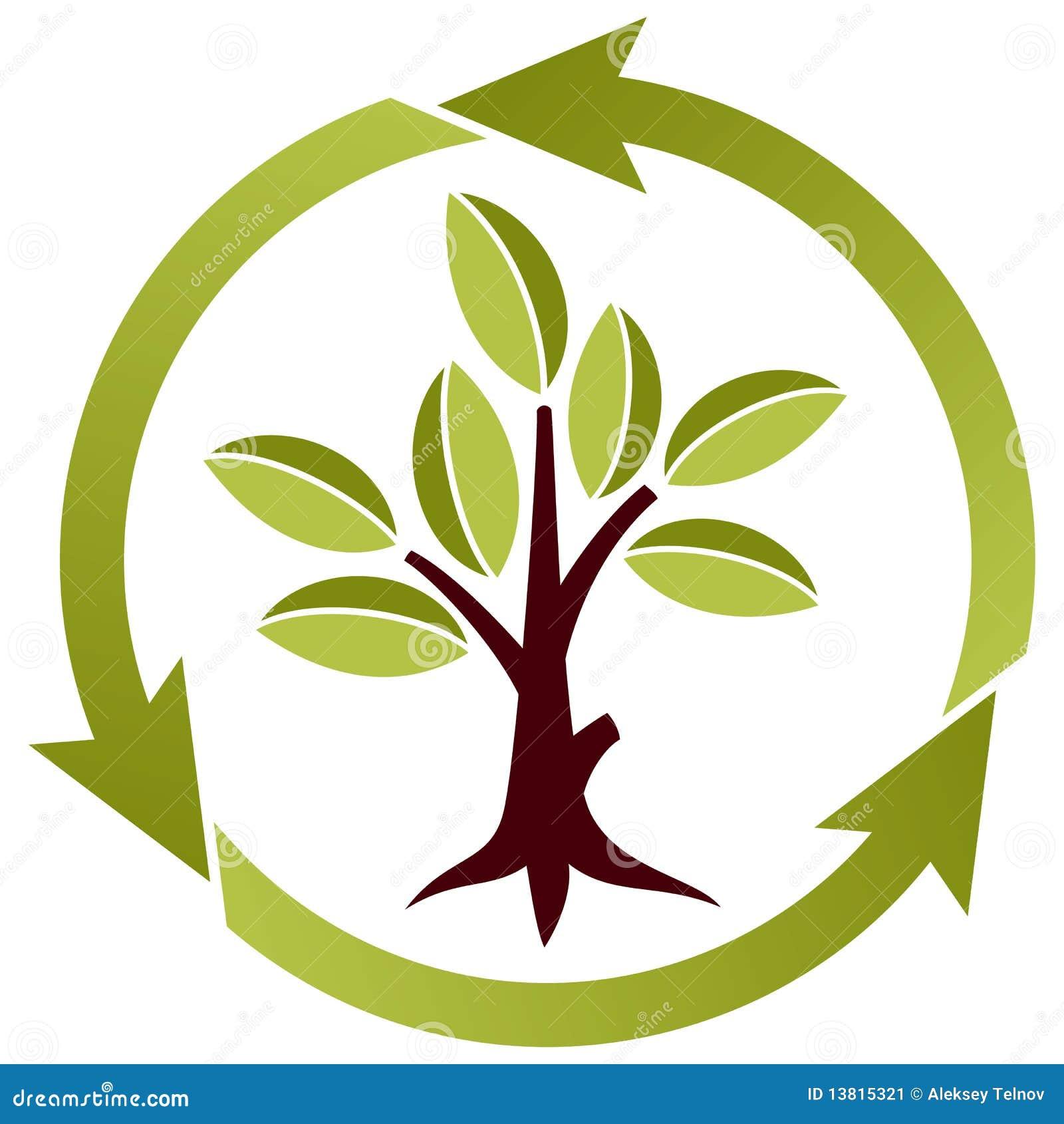Árbol con las hojas y símbolo del reciclaje ilustración del vector