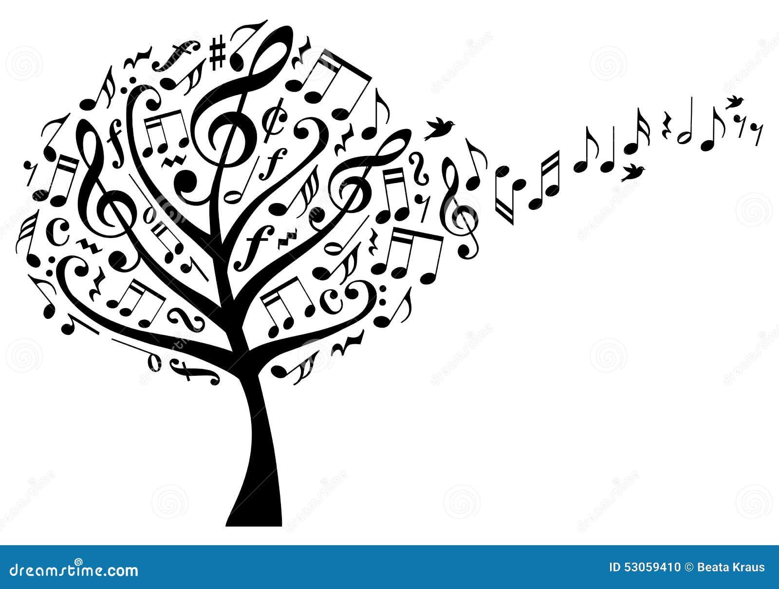 Árbol con las notas, vector de la música