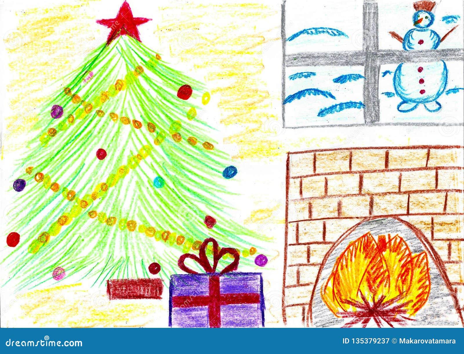 Árbol con los regalos, chimenea, muñeco de nieve, dibujo de Christmass del niño
