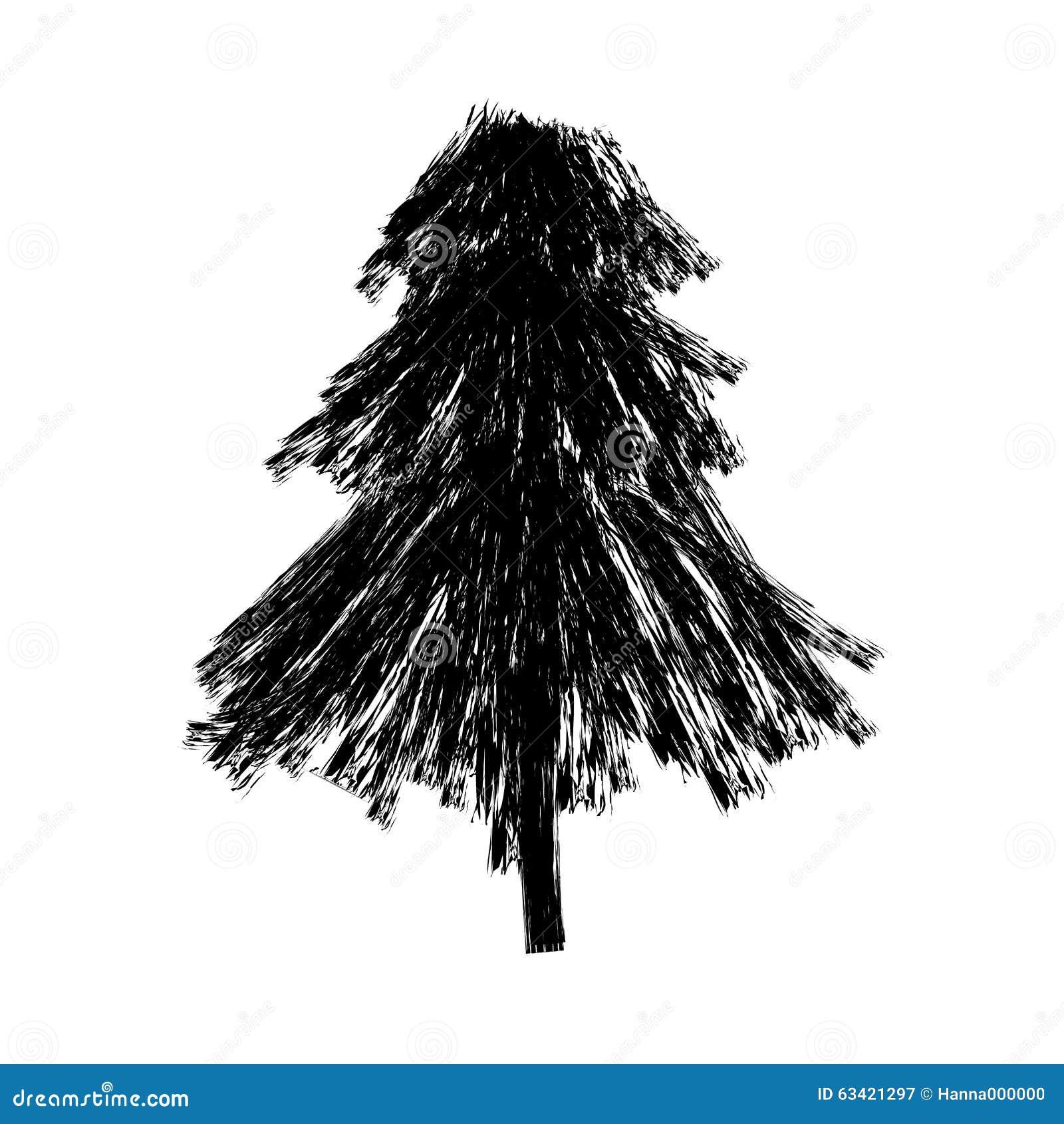 Árbol de abeto del negro del garabato del bosquejo
