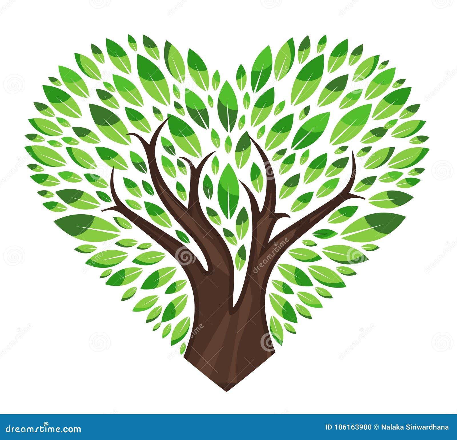 Árbol de amor con las hojas