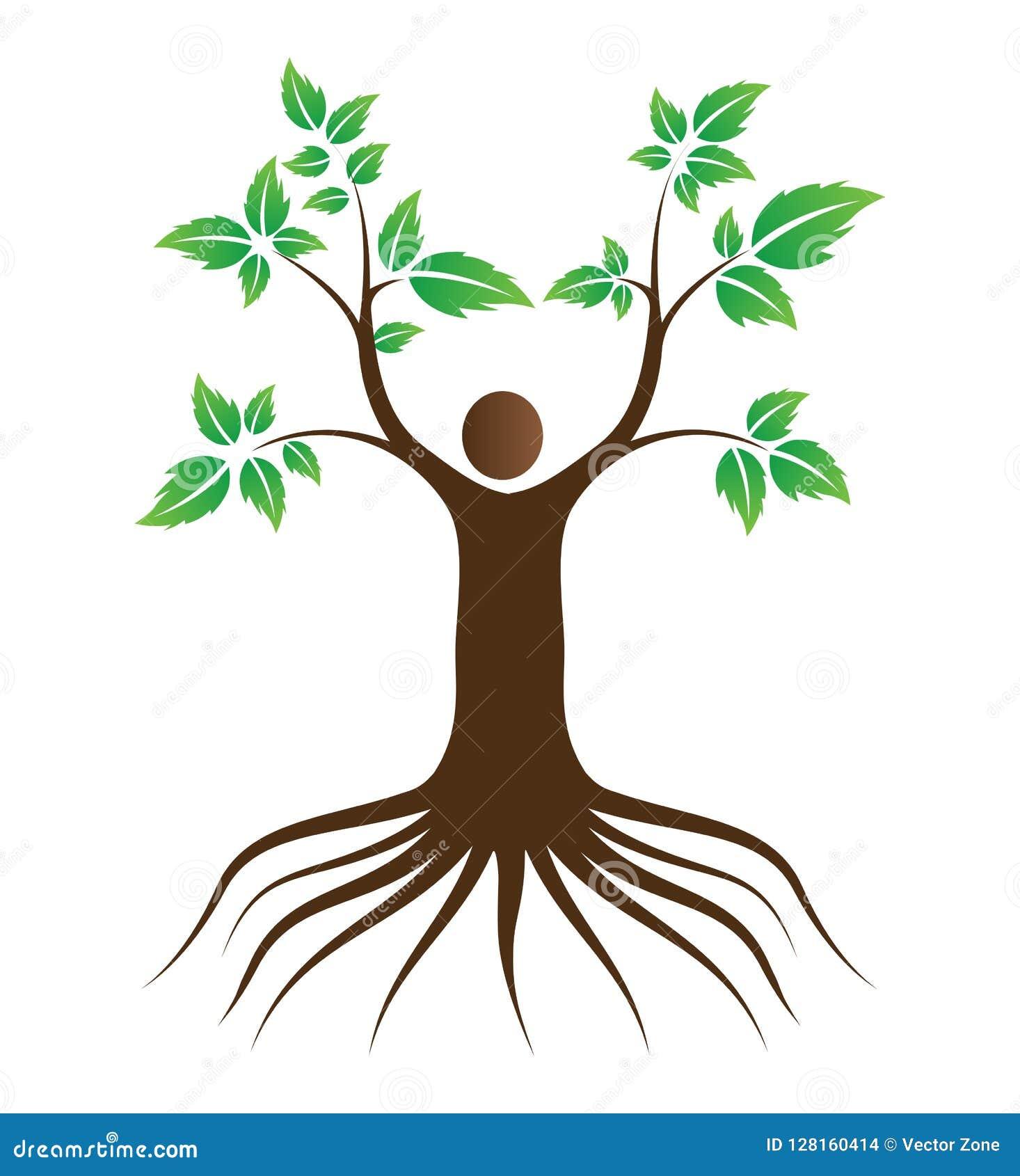 Árbol de amor de la gente con las raíces