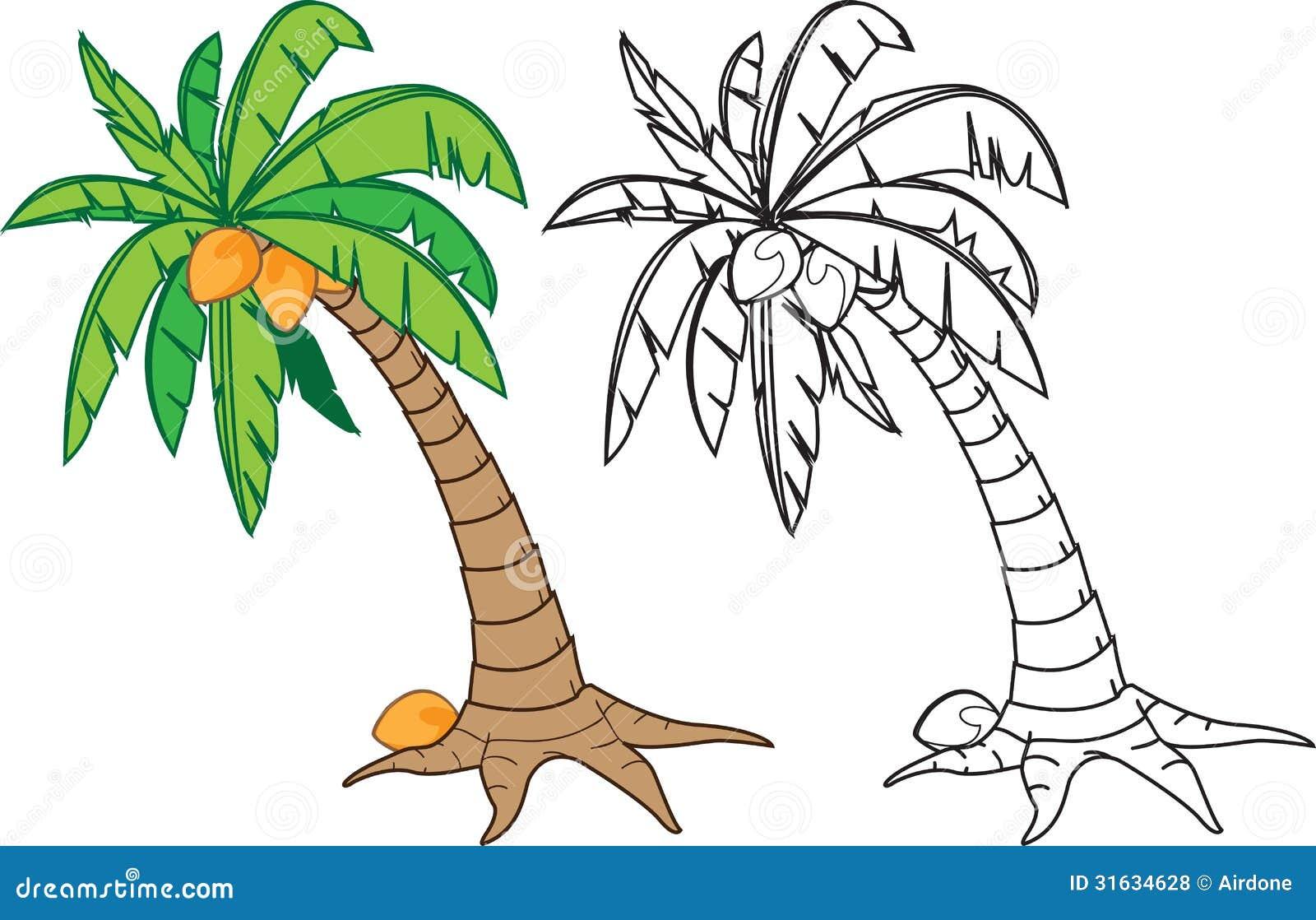 Árbol de coco ilustración del vector. Ilustración de tronco - 31634628