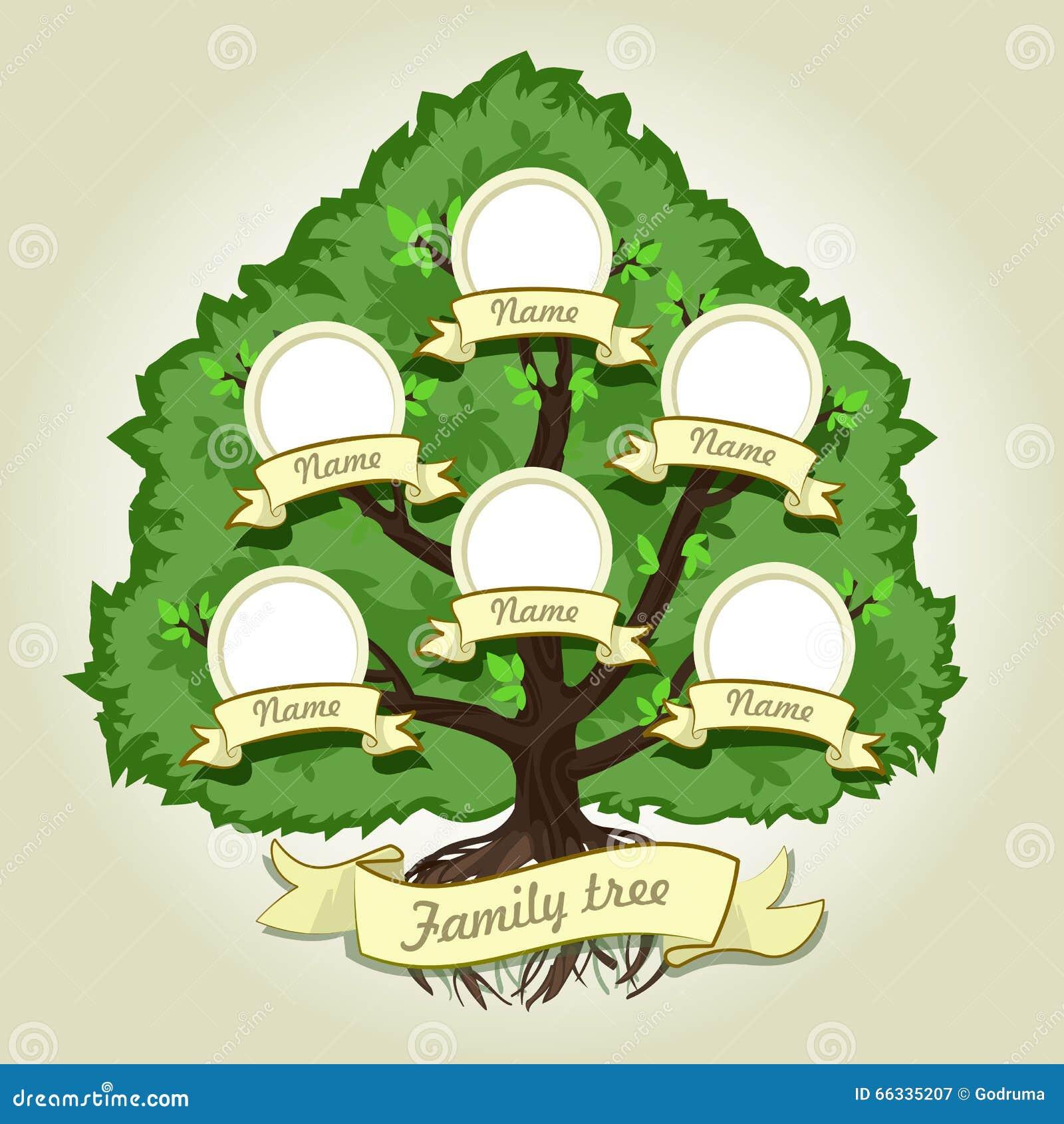 árbol De Familia Genealógico En Fondo Gris árbol De Familia En