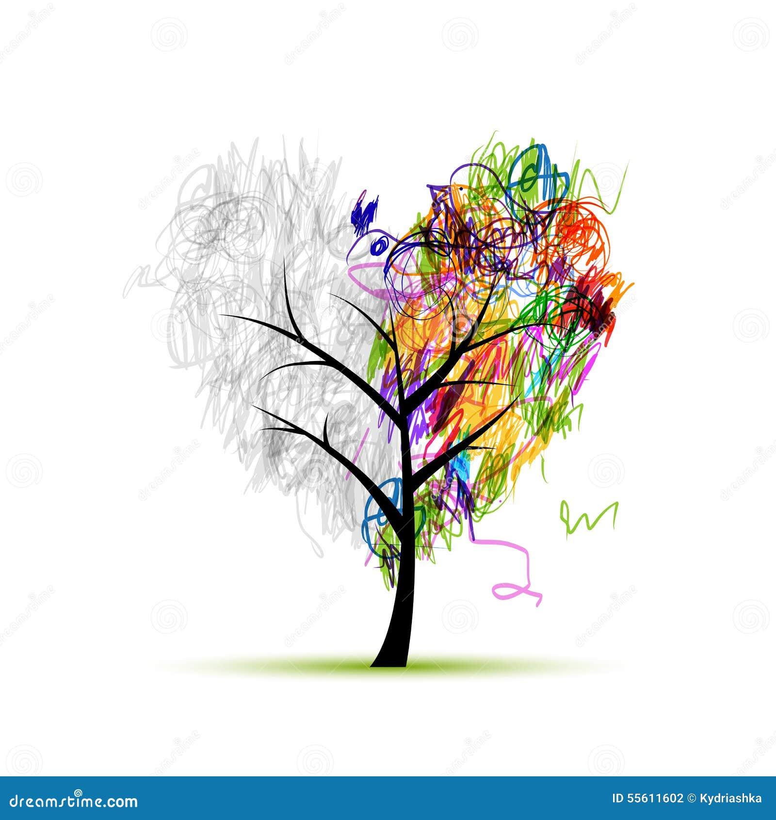 árbol De La Forma Del Corazón Dibujo De Lápiz Para Su Diseño