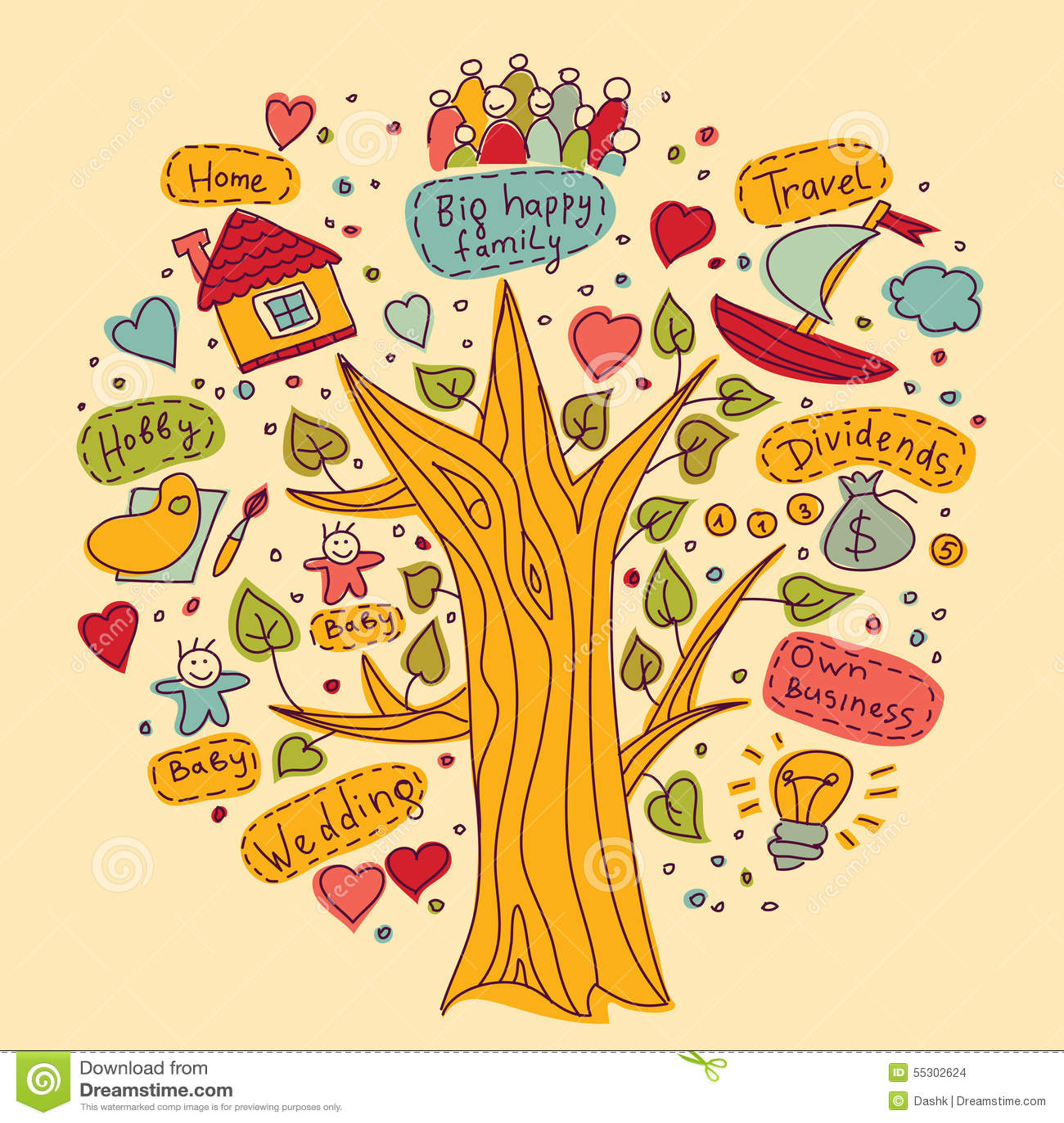 árbol De Los Colores De Los Objetos De Los Deseos De Los Sueños De
