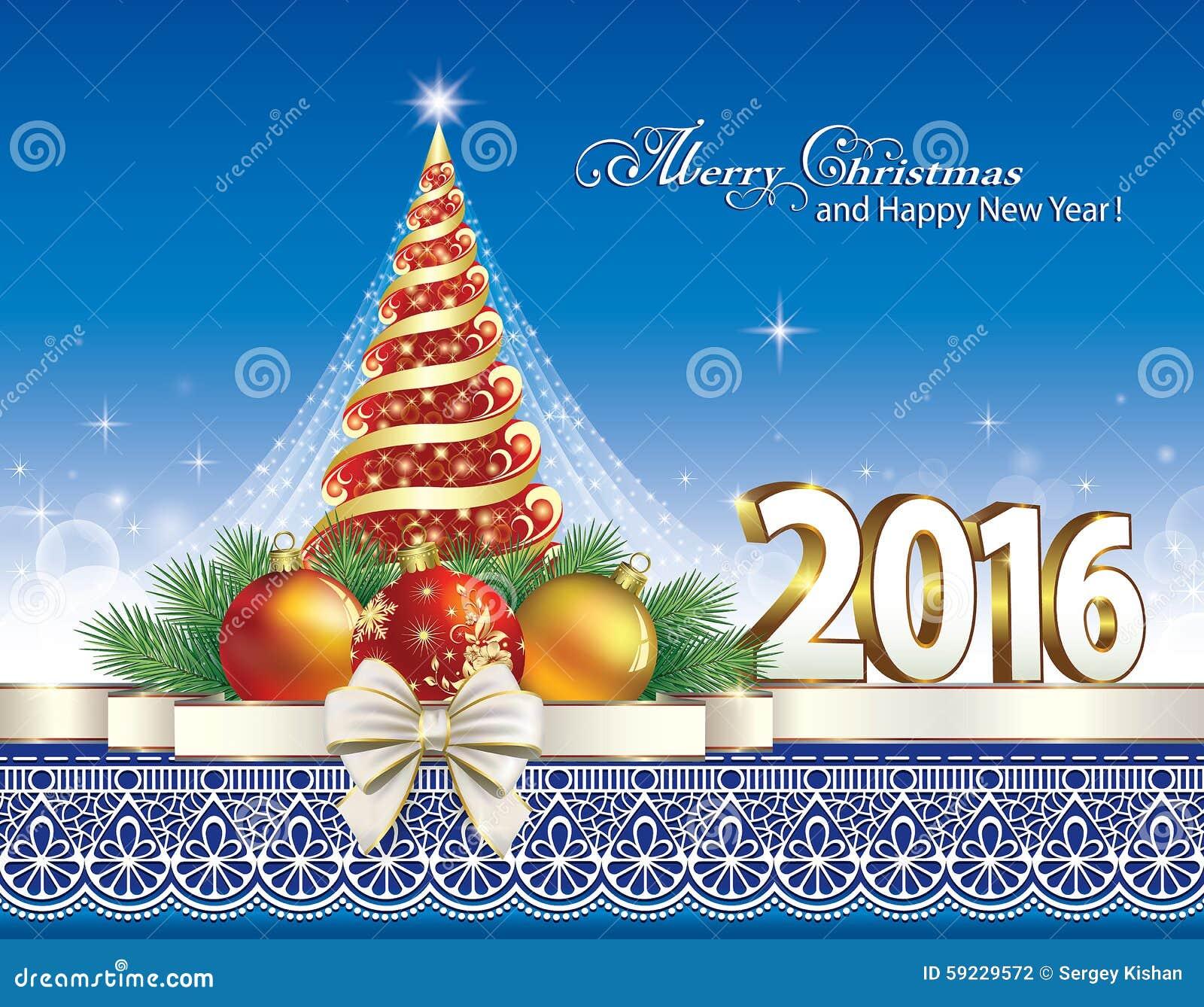 Download Árbol de navidad 2016 ilustración del vector. Ilustración de tarjeta - 59229572