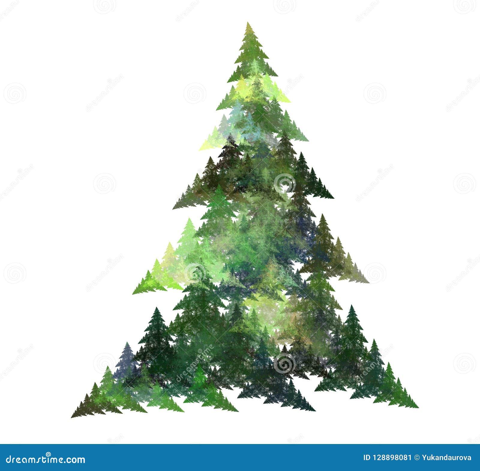árbol De Navidad Abstracto Del Fractal Imagen Generada Por