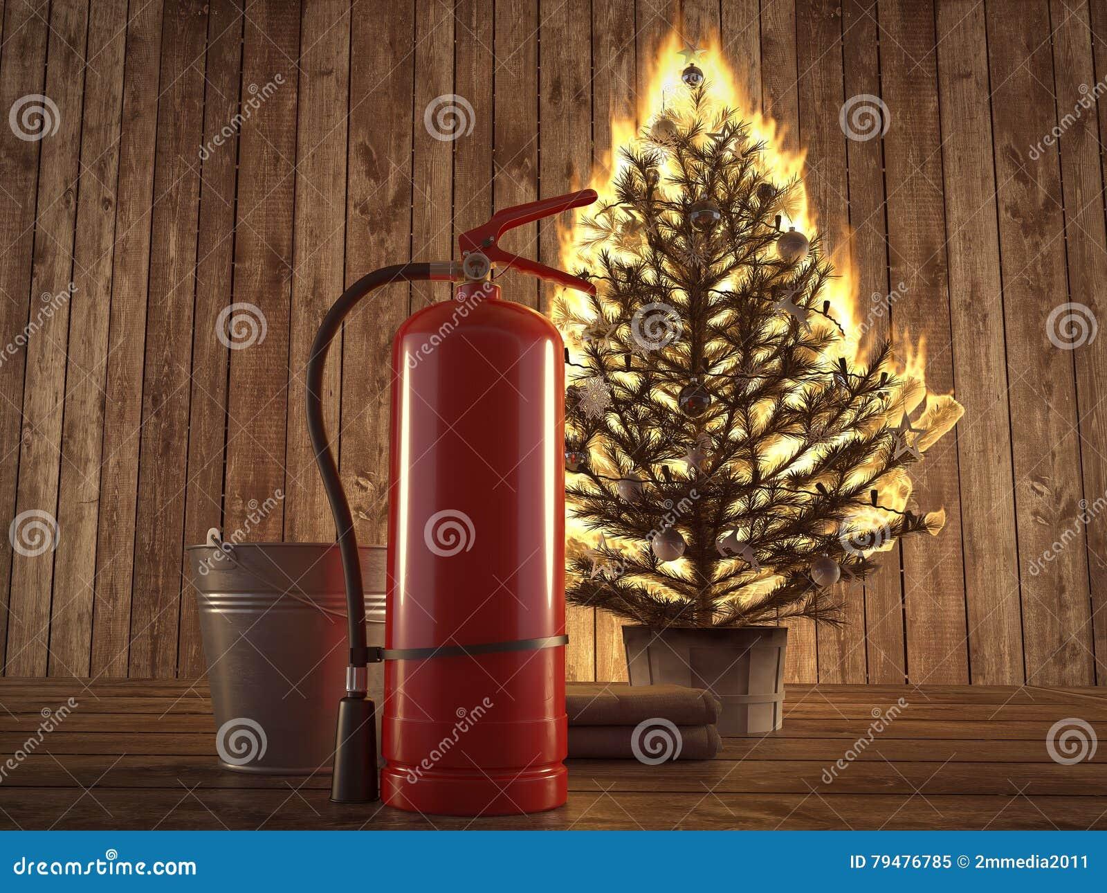 Árbol de navidad ardiente con el extintor y el cubo por otra parte representación 3d