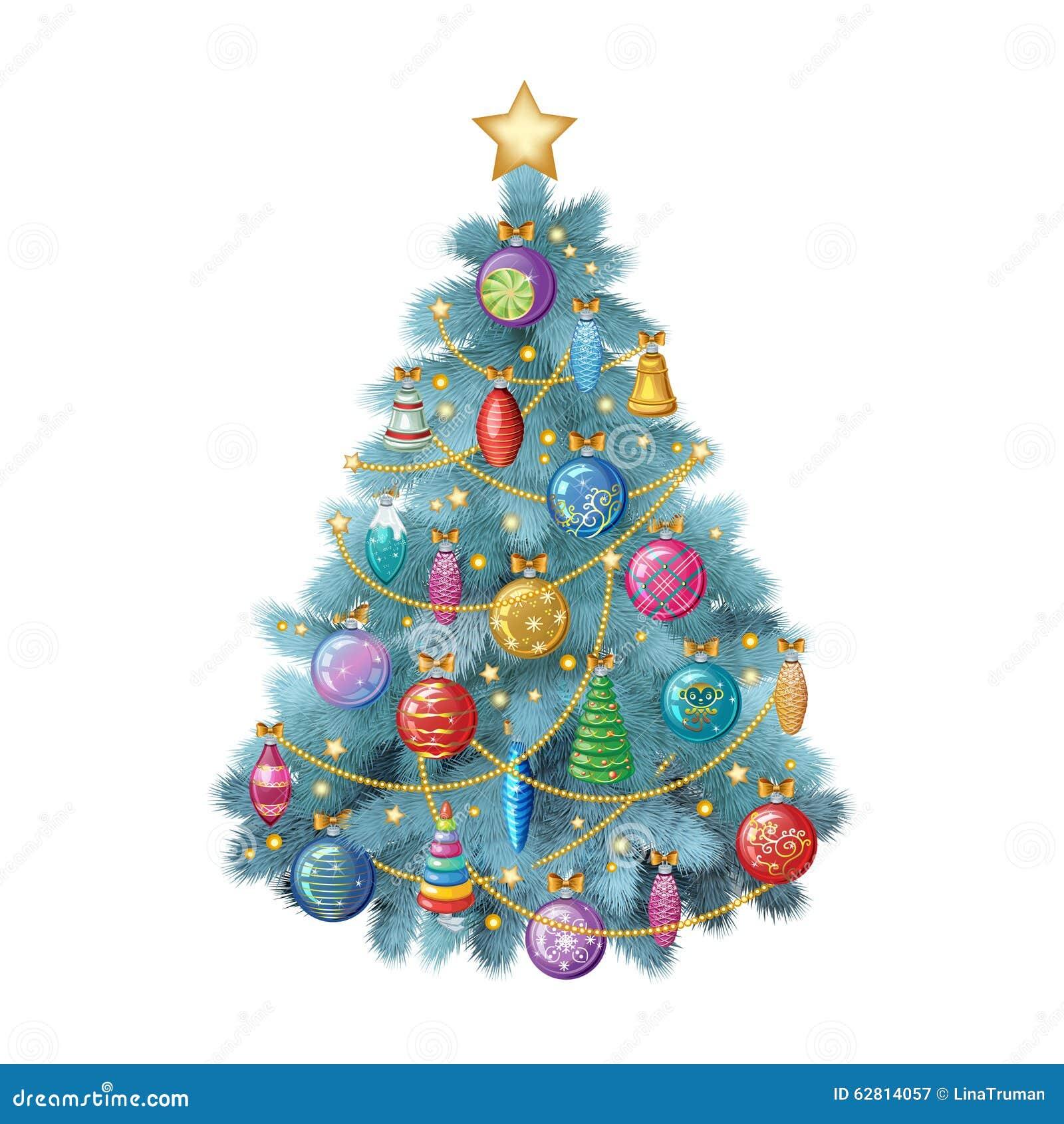 Árbol de navidad azul con los ornamentos coloridos, ejemplo del vector