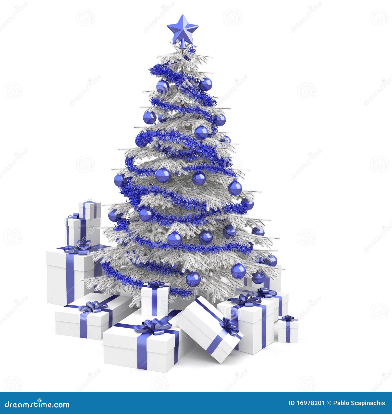 Árbol de navidad azul y blanco