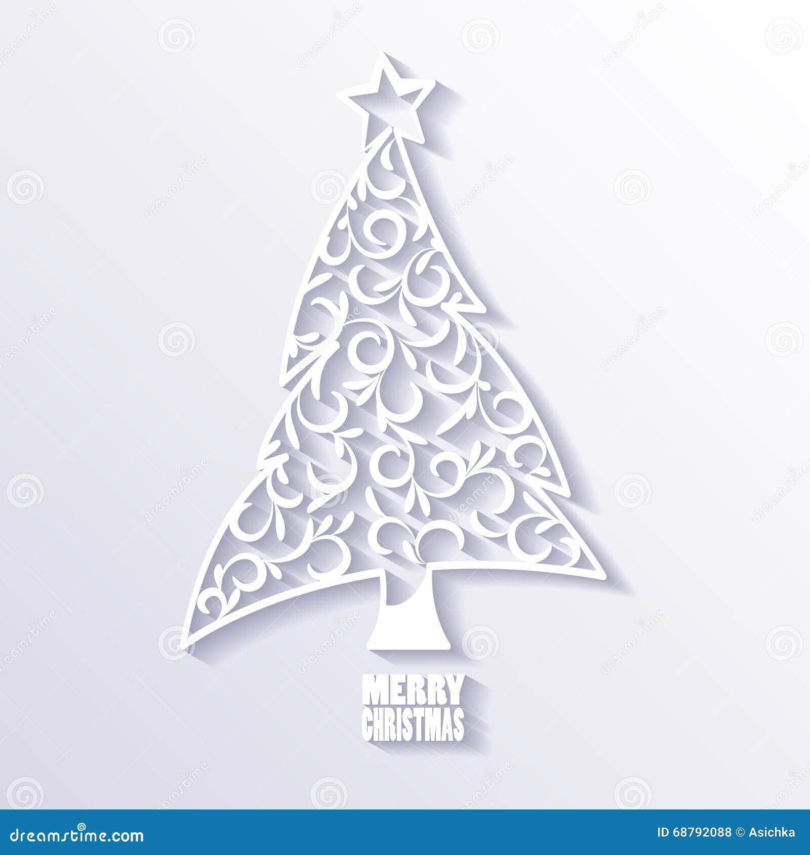 rbol de navidad blanco en el fondo blanco diseo plano stock de ilustracin