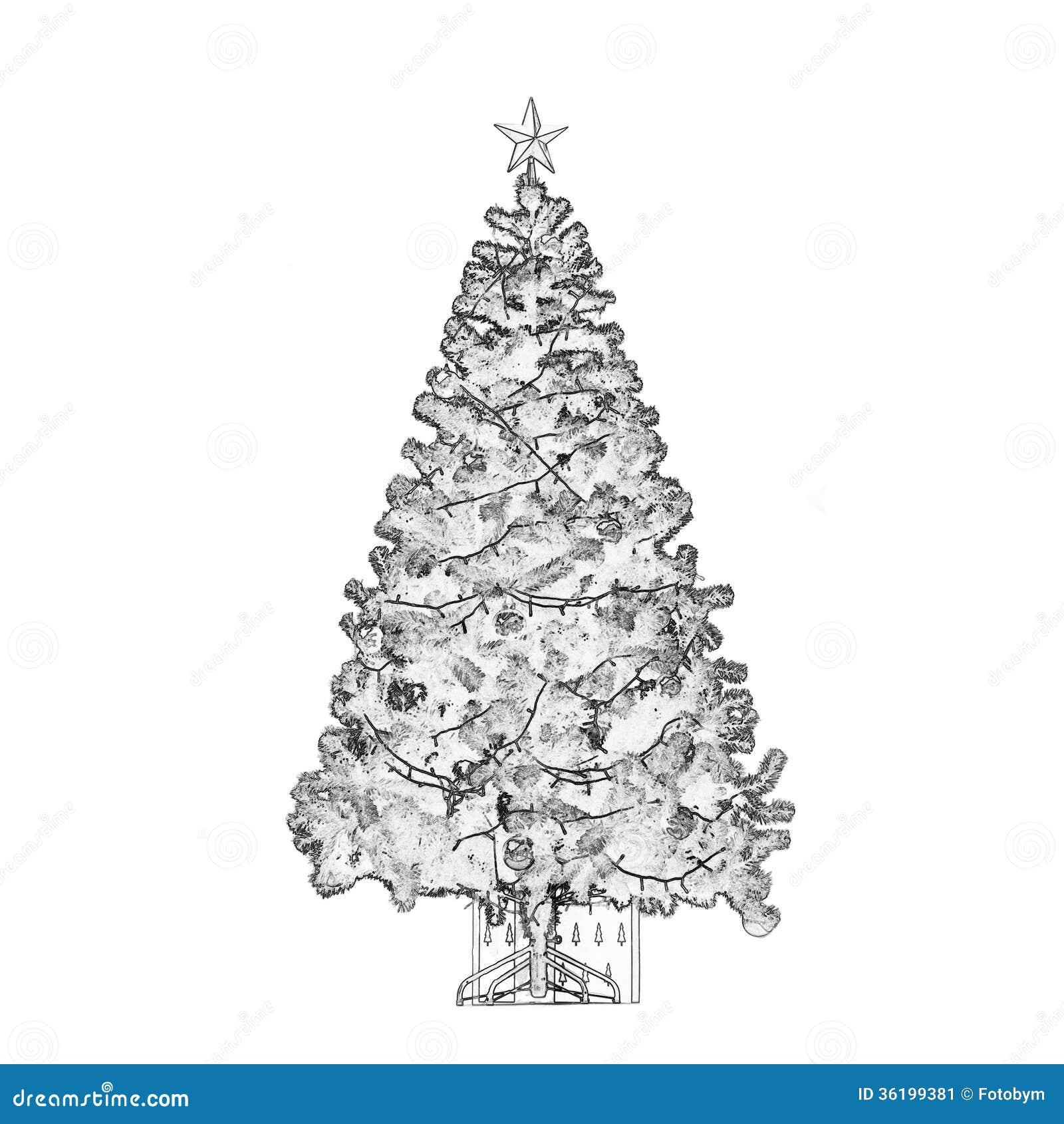 rbol de navidad blanco y negro imagen de archivo