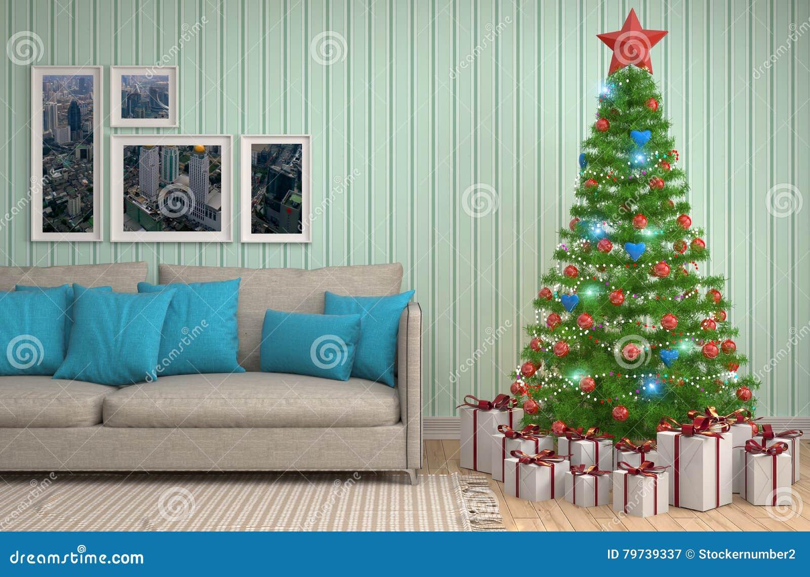 Árbol de navidad con las decoraciones en la sala de estar illustrat 3d