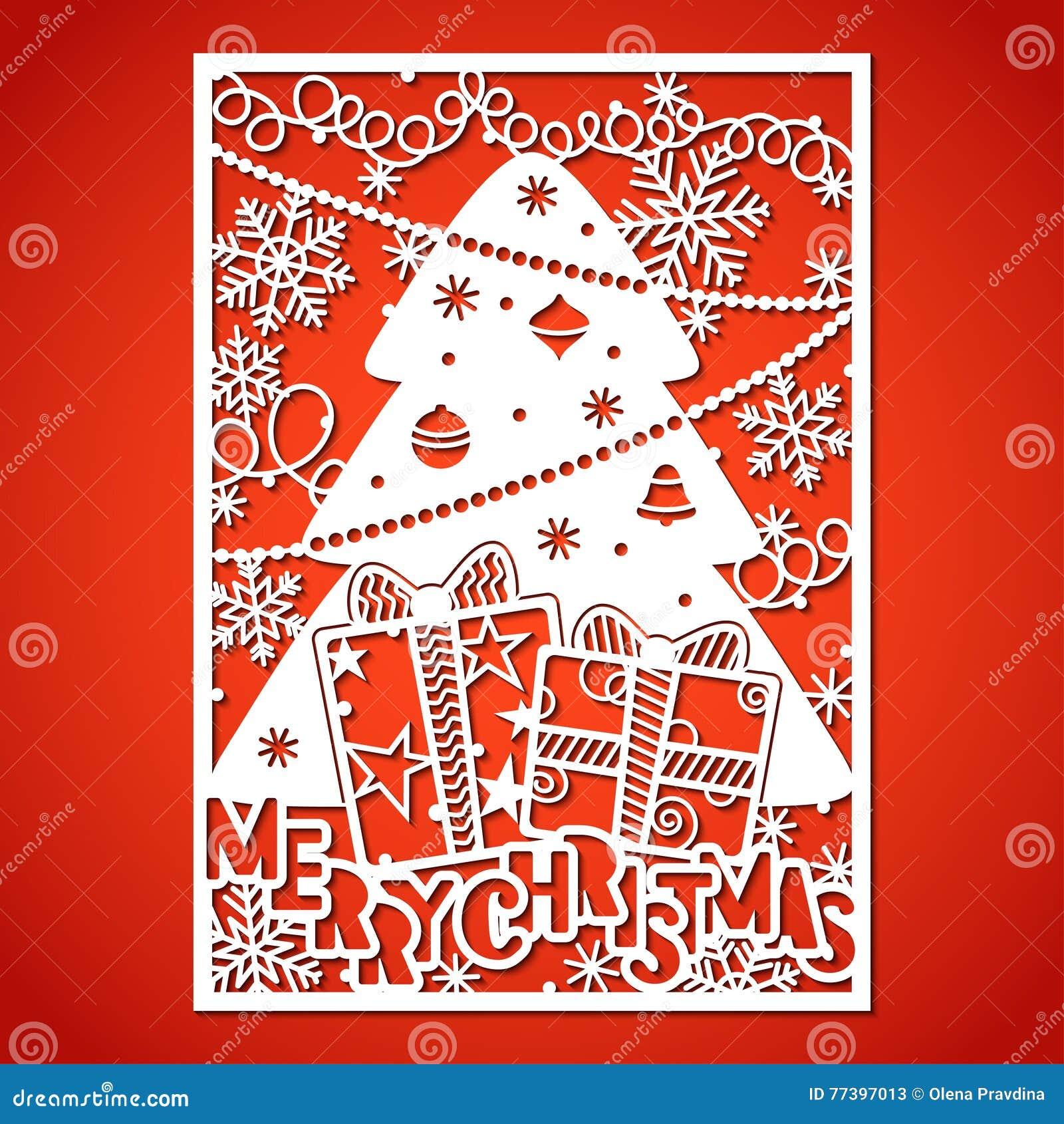 Árbol de navidad con las decoraciones Plantilla de corte del laser